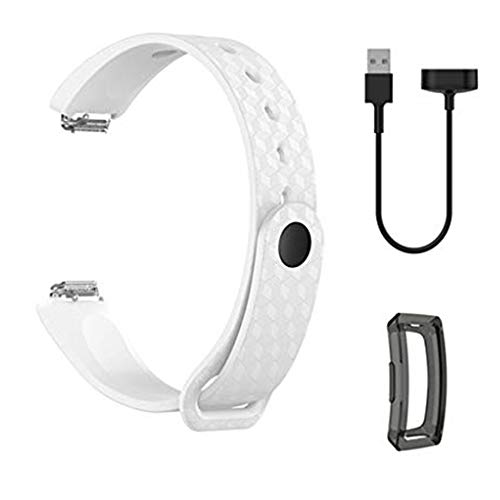 For Fitbit Inspire HR Watch Band Silicone Wrist Strap + Charger + TPU Screen Protector for Fitbit Inspire/Inspire HR 3 in 1 Charging Dock Cables Station