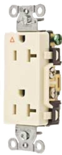 Hubbell Wiring Systems IG20DRLA SpikeShield Style Line Commercial Specification Grade Straight Blade Isolated Ground Decorator Receptacle, 125V, 20A, 1 HP, 2-Pole, 3-Wire, Light Almond