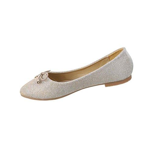 Damen-Schuhe Ballerinas | elegante Slipper mit Blockabsatz und Schleife in verschiedenen Farben und Größen | Schuhcity24 | Loafers in Glitter Synthetik-Optik Gold