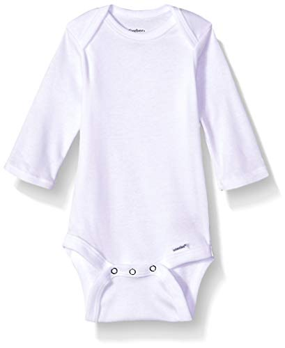Gerber Baby 5-Pack Organic Long-Sleeve Onesies Bodysuit, White, Newborn