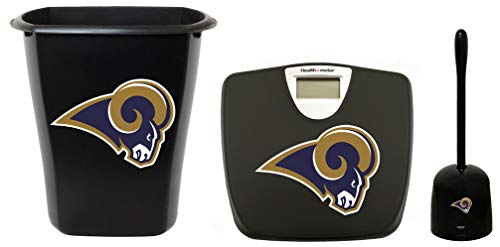 3-pc Set! Black Digital Scale, 3 Gallon Trash Can and a Toilet Cleaner Brush Featuring The Choice of Your Favorite Football Team Logo! (Rams)