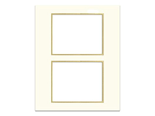 Pre-cut Double Photo Mat Board Cream Core 16 x 20 in. 2 Openings Ivory/Gold