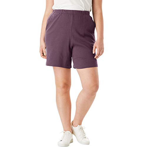 Roamans Women's Plus Size Soft Knit Shorts - Eggplant, 3X ()
