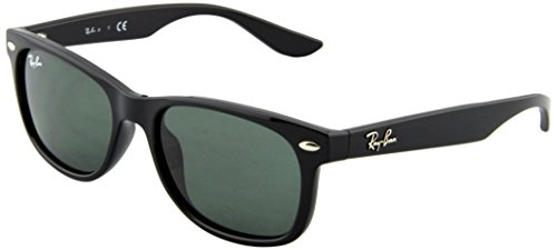 Ray-Ban Unisex-Child New Wayfarer Junior Sunglass 0RJ9052S Square Sunglasses, BLACK 100/71, 47 - Ray Ban China