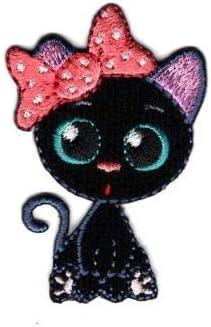 CHAT Rose noir ** 8 x 6,5 cm ** ÉCUSSON PATCH BRODE thermocollant