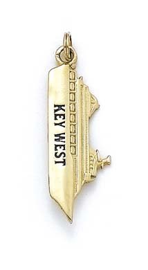 Or 14ct émail Key West Pendentif navire de croisière