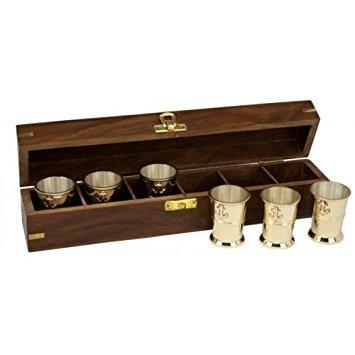 6 Brass Shot Glasses w/ Anchors in Custom Wooden
