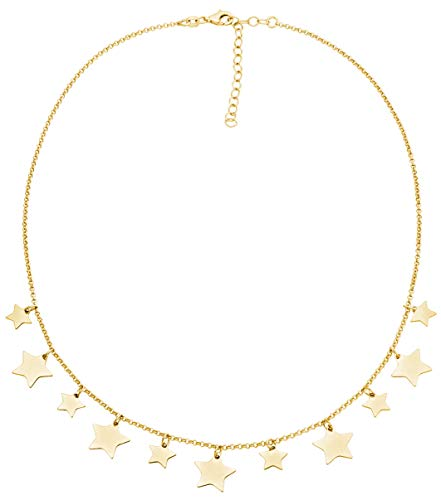 MiaBella 925 Sterling Silver Italian Dangle Star Charm Disc Chain Necklace Adjustable 16