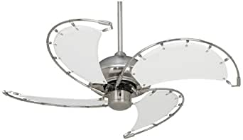 40 Quot Aerial Brushed Nickel White Blades Ceiling Fan