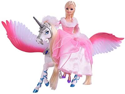 Bettina Sparkle Unicorn and Fairy Tale Princess Doll W/ Crystal Comb and Fairy Stick Girls` Unicorn Doll Toys Gifts Presents for Girl Kids Aged 3+ (White Unicorn)