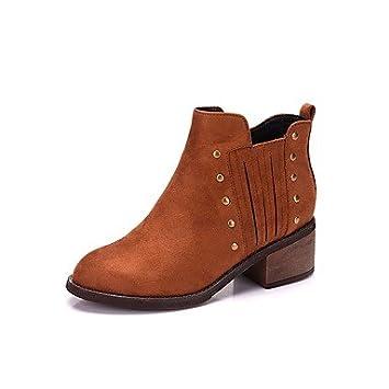 Heart&M Mujer Zapatos Aterciopelado Otoño Invierno Botas de Moda Botas Tacón Robusto Dedo redondo Botines Hasta