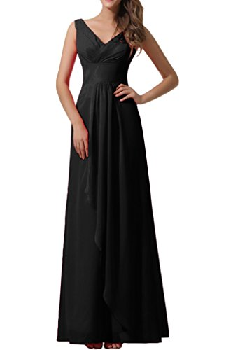 Double Gown Party Chiffon Weding Neck Empire Prom V Dress Avril Black Evening Chic nSpqO8P