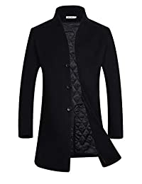APTRO Men's Winter Wool Coat Slim Fit Trench Coat Long Business Coat