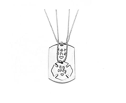 Meiligo Fashion Valentine's Day her one his only Letter Necklace Key Chain Couples Love Lettering Dog Tag Puzzle Charm Necklace Jewelry (Necklace (His Hers Dog Tags)