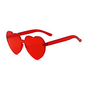 Heart Shape Rimless Sunglasses One Piece Transparent Candy Color Eyewear (Red, 64)