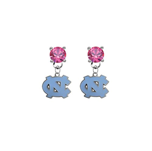 North Carolina Tar Heels Pink Crystal Stud Post Dangle Earrings