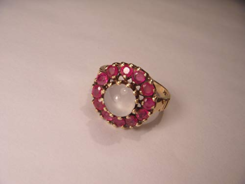 Beautiful Antique Estate 14K Yellow Gold Ruby Rubies Moonstone Ring Band