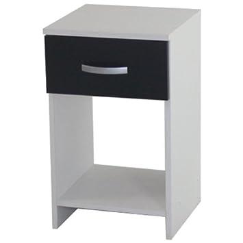 Bedside Table Black White 1 Drawer Cabinet Open Storage