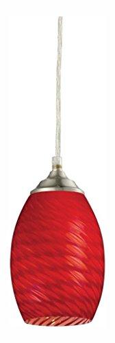 131R-BN Brushed Nickel Jazz 1 Light Mini Pendant with Red Shade - Jazz 1 Light Pendant