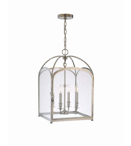 Hudson Valley 6484-PN, Oxford Large Square Pendant, 4 Light, 240 Total Watts, Nickel