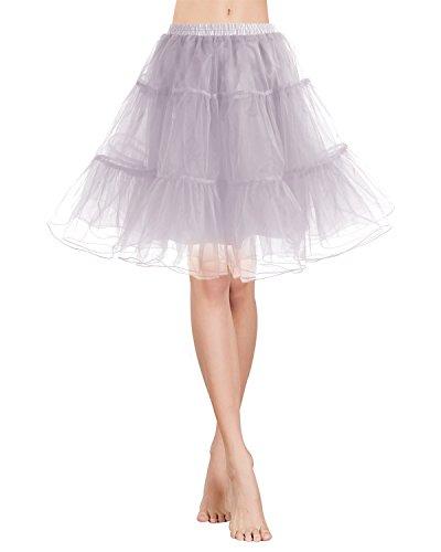 Gardenwed Vintage Women's 1950s Rockabilly Mini Tutu Skirt Retro Petticoat Crinoline Underskirt Grey (1950s Womens Clothes)