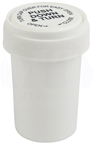 White Push and Turn Reverse Cap Child Resistant Prescription Bottle by MT Products - (15 Pieces) (30 Dram) by MT Products