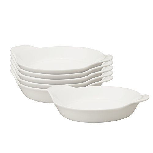 HIC Round Au Gratin Baking Dishes, Porcelain, 4-Ounce, 5-Inch, Set of 6