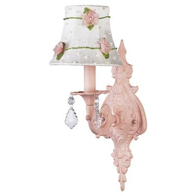 Jubilee Collection 820006-2075 1 Arm Pink Net Flower White Chandelier Shade on Wall Sconce with Pink Scroll Arm White Flower Crystal Chandelier