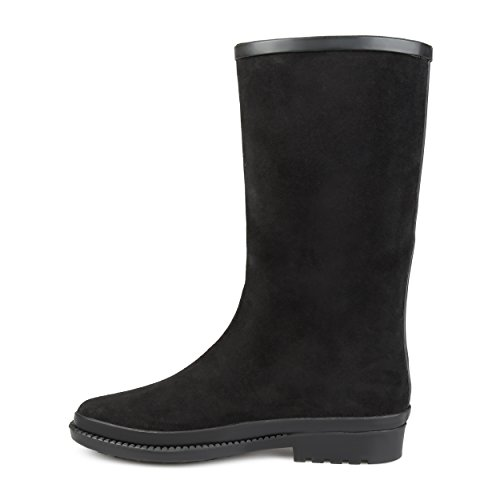 Journee Collection Mujeres Faux Suede Impermeable RainBotas Negro