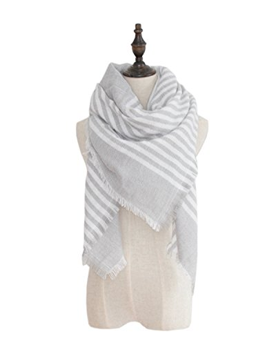 Zando Comfort Fashion Chunky Warm Blanket Wrap Shawl Tartan Plaid Scarf Wrap White Gray