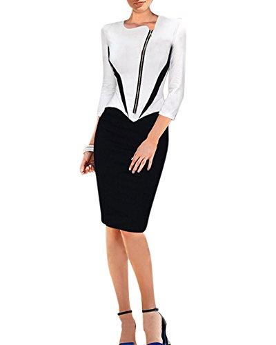 Vestidos Elegantes Cortos - Mujer Vestido Lapiz Tubo Bodycon Casual Ropa de Noche Negro Blanco