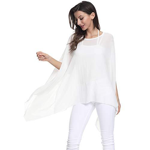 (Max Hsuan Women's Loose Solid Sheer Chiffon Caftan Poncho Batwing Tunic Top Blouse Summer Oversized Shirts Cream)