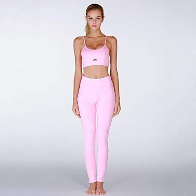 Frauen Spag High Rise Yoga Suit Solid Color Zumba Yoga Running Tank Top Crop Bottoms Sleeveless Activewear Compression Butt Lift Tummy Control Power Flex High Elastizity Skinny Slim, Pink,L