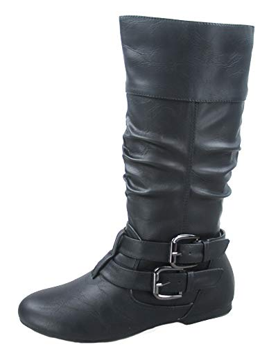 Slouch Riding Boots - FZ-Sonny-54 Women's Stylish Round Toe Buckle Zipper Slouchy Mid-Calf Riding Boots Shoes (7 B(M) US, Black)