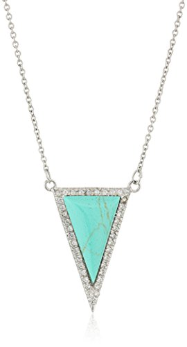Silver-Tone Simulated Turquoise and Cubic Zirconia Triangle Pendant Necklace, 18