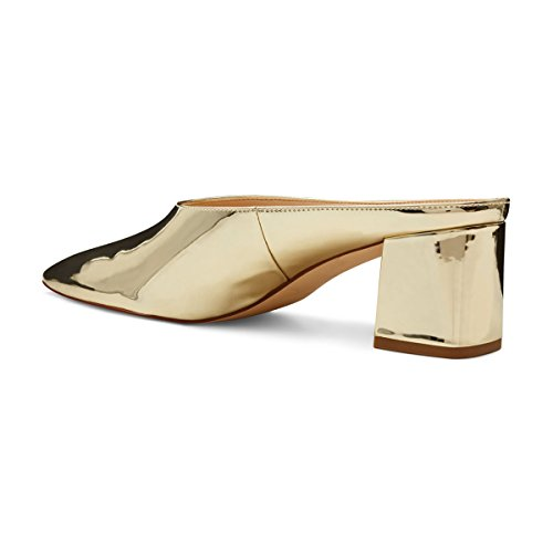 Shoes Slip YDN Block Women Dress Heels Mules Toe on Slippers Sandals Vintage Low Pointed Gold Clog r06Awdrq