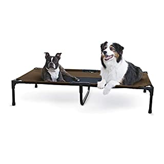 K&H PET PRODUCTS Original Pet Cot Elevated Dog Bed Chocolate/Black Mesh X-Large 32 X 50 X 9 Inches