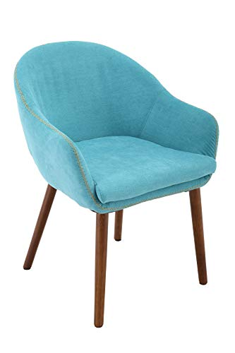 Brage Living Wood Leg Upholstered Padded Fabric Dining Chair – Aqua Blue BR1891004