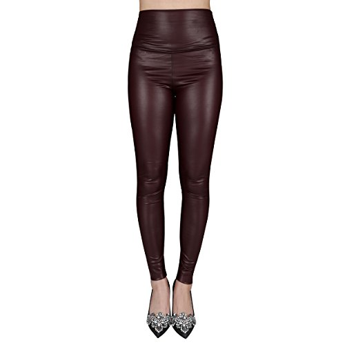 jntworld Sexy Faux Leather High Waisted Leggings, L(US12-14), (Brown Leather Pants)