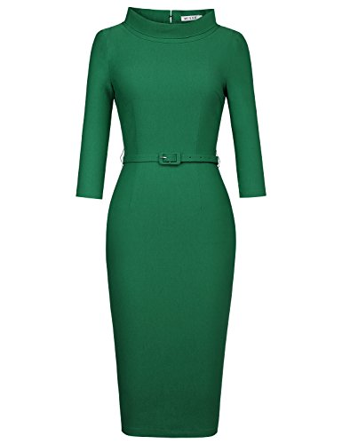 MUXXN Women's 1950s Vintage 3/4 Sleeve Elegant Collar Cocktail Evening Dress (L, Green)
