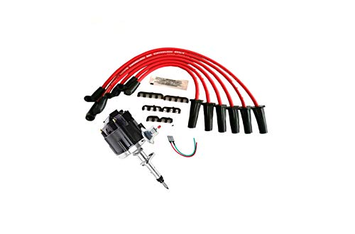 A-Team Performance 65K COIL HEI Distributor Black Cap, Red Spark Plug Wires Set, and Pigtail Wiring Harness 3-in-1 Kit Compatible with Straight 6 41-62 194 216 235 68-87 Early Chevrolet T ()