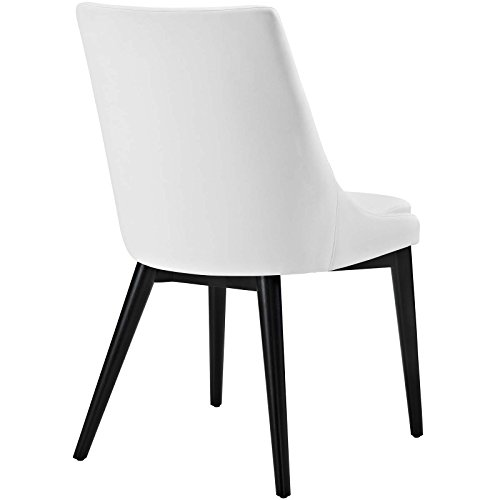 Modway Viscount Mid-Century Modern Upholstered Vinyl Dining Chair In White