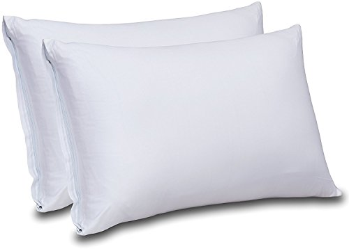 Premium Cotton Zippered Pillow Cases 2 Pack (Queen, White) - 100% Combed Cotton Pillow Cover for Maximum Softness - Elegant Double Hemmed Stitched Pillow Encasement 300 Thread Count by Utopia Bedding
