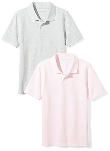 Amazon Essentials Big Boys' Uniform Pique Polo, Heather Grey/Light Pink, ()
