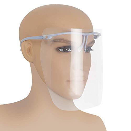 zinnor Dental Full Face Shield Adjustable Kitchen Cooking Anti-Oil Clear Face Shield Face Mask with 10 -