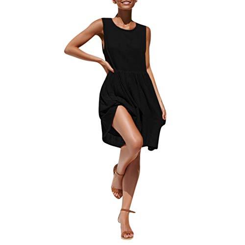 - Sunhusing Women Summer Casual O Neck Sleeveless Mini Dress Loose Party Pleated Sundress Black