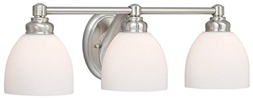 Vaxcel USA STVLD003BN Stockholm 3 Light Bathroom Vanity Lighting Fixture in Nickel, Glass