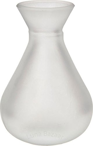 Luna Bazaar Frosted Glass Vase 4 Inch Bulb Shape Clear