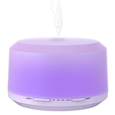 ZOOKKI 450ml Ultrasonic Essential Oil Diffuser with Color Changing Light, Waterless Auto Shut-off and 4 Timer Settings Air Purifier Cool Mist Humidifier for Home Office Fragrant Oil Vaporizer