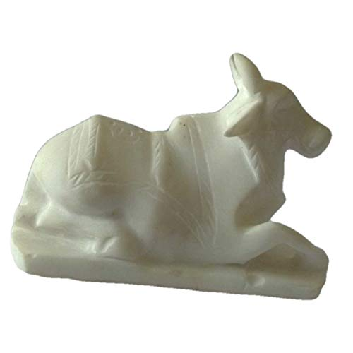 White Marble Nandi Cow for Temple Puja Room Showpiece 8 Inch | Home Décor | Handmade by Awarded Indian Rural Artisan